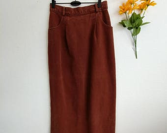Vintage Copper Button Jean Skirt