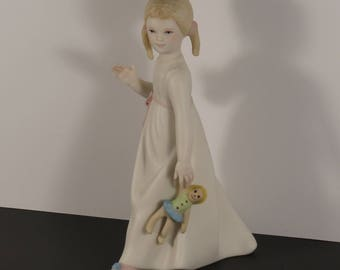 """Vintage Cybis """"Wendy"""" with Doll Porcelain Figurine"""
