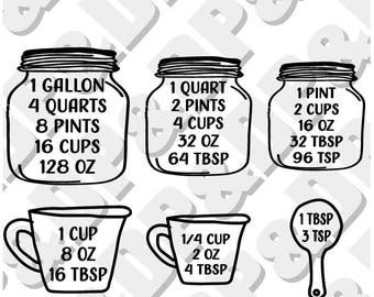Measuring Equivalents SVG, DXF Vector - Digital Cut file for Cricut or Silhouette svg, dxf Jar, measuring cup