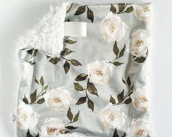 Sage Rose Floral Lovey, Minky Lovey, Faux Fur Lovey, Floral Lovey, Girl Lovey, Ivory Lovey, Fairytale Lovey, Green Lovey, Rose Lovey