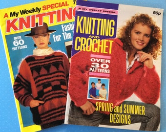 Knitting and Crochet Magazines - 1985 and 1988 Weekly Special Vintage Books - Retro Craft Magazines - Crochet Knitting Embroidery Sewing