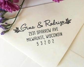 Custom Return Address Stamp, Self Inking Address Stamp, Wedding Stamp with Leaves, Wooden Stamp, Rubber Stamp, Personalized Stamp with Names
