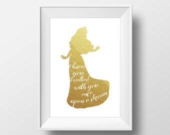 Wall Art Gold Foil Digital Princess Aurora Print,Sleeping Beauty Disney Quote Print,Printable Foil Disney,Glitter,Nursery Print,Baby Gift