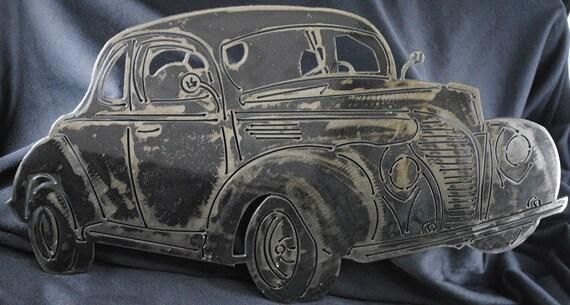 1940 Ford Standard Coupe, Metal Ford Car, Metal Wall Art, Metal Decor, Auto Memorabilia, 1940 Memorabilia, Man Cave Decor, Automotive Art