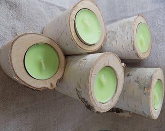 Set of 5 Birch candle holder, wood candle holder, Rustic wedding decor, Wooden tea light holder. Wooden wedding decor, wood candle holder
