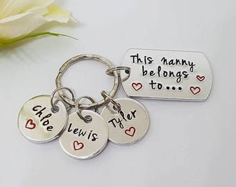 Nanny Keyring, Hand Stamped Personalised Keyring Keychain, This Nanny Belongs To, Grandma, Granny, Grandmother Gift, Mother's Day Gift