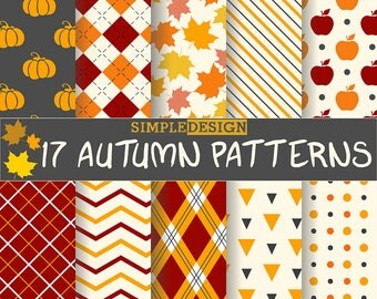 Fall Digital Paper, Autumn Digital Paper, Autumn Paper Pack, Autumn Leaves Paper, Autumn Patterns, Fall patterns,Chevron, Plaid,
