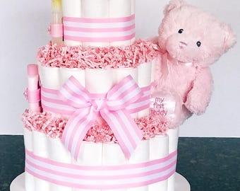 Teddy Bear (Girl) Diaper Cake