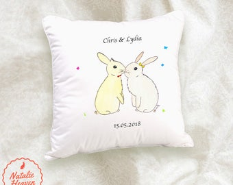 Cute Gifts for Girlfriend Bunny Cushion Cotton Rabbit Gift Husband Pillow Case Personalised Wife Present Anniversary