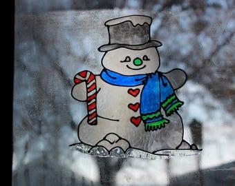 Snowman Handmade Window Cling
