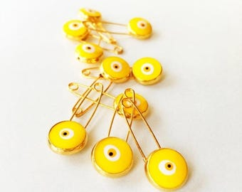 PROMO 5 pcs Lucky evil eye safety pin, protection for baby, gold plated evil eye pins, baby boy gift pin, baby shower gift, stroller, baby p