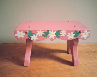 Hand Painted Vintage Swedish Wooden Bench Tabletop Stand/Ornament