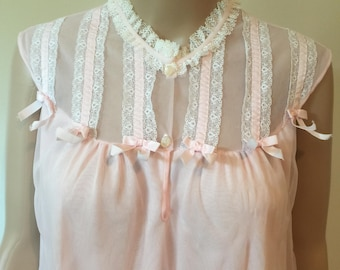 60's layered chiffon babydoll nightgown.
