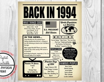1994 The Year You Were Born, 24th Birthday Poster Sign, Back in 1994 Newspaper Style Poster, Printable, 1994 Facts, 24 years ago