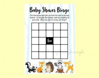 Woodland Bingo Baby Shower Card Game, Gender Reveal Baby Shower, Printable, Baby Shower Party, Woodland Design style