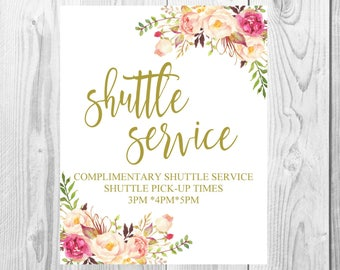 Shuttle Service Wedding Sign, Vintage Gold Floral Boho Sign, Flower Bohemian Wedding Sign, Printable, Customized