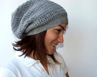Woman crochet slouchy hat/ Grey crochet hat/ winter hat/ gift for her/ winter accessory/ slouchy hat/