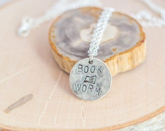Book Worm Necklace  - Bookish Gift - Book Lover Gift - Book Jewelry - Book Worm - Silver Necklace