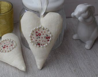 Heart door cushion in white linen - little liberty fabric heart and Pearl - shabby - heart hanging heart - valentine heart