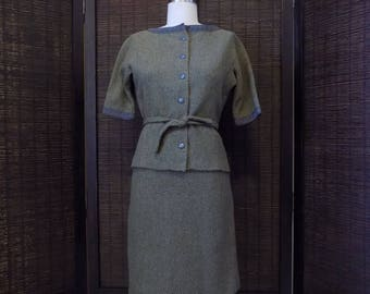 Jo Collins 2 Piece Olive and Gray Wool Tweed Skirt and Top