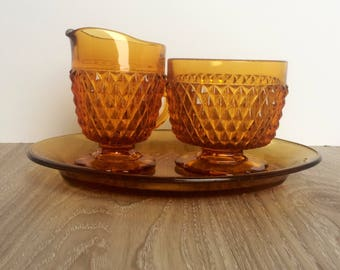 Vintage Indiana Diamond Point Glass Cream and Sugar Set With Plate