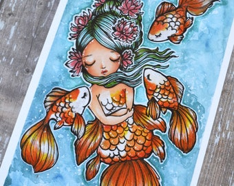Goldie and friends - 4x6 Inch Goldfish, Mermaid, and friendship themed Art Print