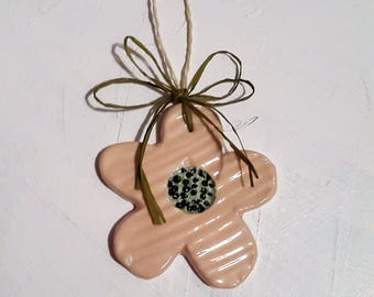 Flower Deco ceramic doorknob, Provence flower to hang on cupboard handle, ceramic flower hand-made gift