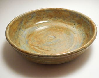 Large Tan and Gray Variegated Stoneware Ceramic Serving Bowl, Handmade Pottery, Hand Painted, Hand Thrown, Kitchenware, Housewarming (B0116)