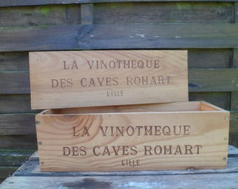 Wooden box with lid, wine, deco, vintage, made in France advertising crate