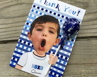 Party Favor, Sucker Favor, Childs Birthday Candy Favor, Sucker Birthday Thank You, Birthday Favor, Childs Custom Photo Birthday Favor