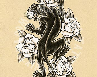 Black Panther. Old School Tattoo print.