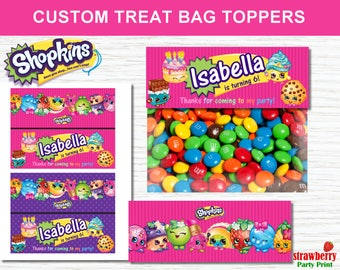 Shopkins Treat Bag Toppers Party Favors Goodie Bags Birthday