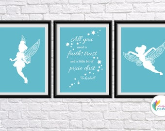 Download - Tinkerbell Printable - Set of 3 Aqua Tinkerbell Fairy  Prints
