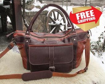 Handmade Duffle Bag / Leather Travel Bag / Leather Duffle Bag / Brown Leather Travel Bag / Weekend Bag / Overnight Bag / Mens Travel Bag