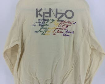 Vintage 90's Kenzo Golf Cream Classic Design Skate Sweat Shirt Sweater Varsity Jacket Size L #A810