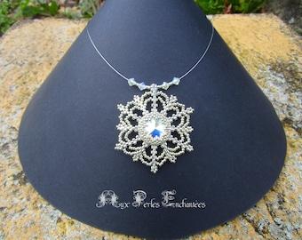 Snowflake beaded pendant necklace