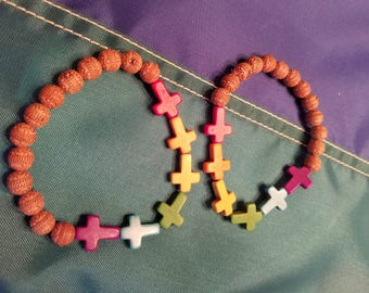 GAY PRIDE Rainbow cross bracelet