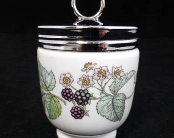 Royal Worcester King Size Egg Coddler – Lavinia Blackberry Pattern – Silver Screw Top - Original Directions for Use - Vintage & Collectible