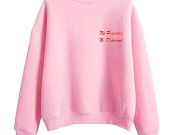 No Pressure, No Diamond, Red on Pink