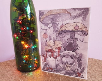 Holiday Handmade Christmas Card with Red Envelope