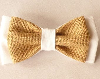 Bow tie double Jute canvas and white fabric