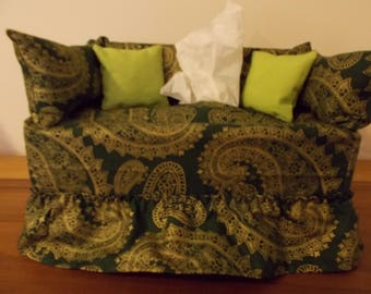 Paisley swirl couch tissue box cover.