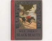 Black Beauty Antique 1928 copy, Wee Books for Wee Folks, small antique children's book in VG condition, color illustrations horse classic