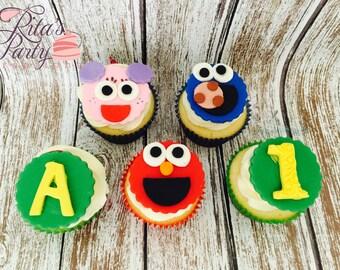 12 Sesame Street Fondant Edible Cupcake Toppers Birthday Baby Shower 1st Birthday
