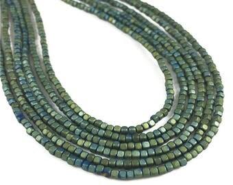 2mm Green Hematite Cube Beads,Gemstone Beads,Hematite Jewelry