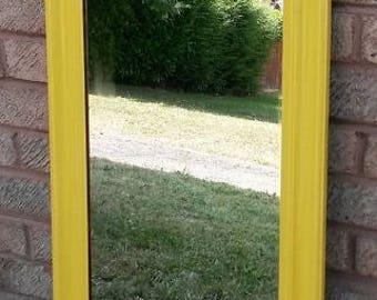 Long mirror, yellow mirror, dressing mirror, bright mirror, tall mirror, wall mirror, pretty mirror, bedroom mirror, living room mirror