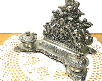 ORNATE VINTAGE INKWELL Desk Accessory Paris Apartment Romantic Home Decor Photo Prop Italian Silver Inkwell Gift