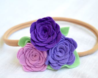 Felt headband with purple rose Felt flower headband Baby girl floral crown Newborn headband Violet  felt crown