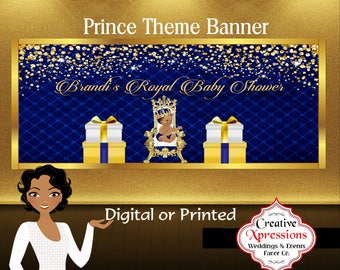 Royal Prince Banner | Royal Blue And Gold Banner | Prince Theme | Baby  Shower Banner