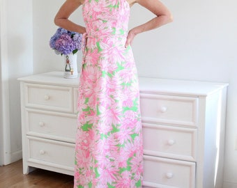 1970's LIZA by LILLY PULITZER Pink, Green Maxi Cotton Floral Sundress